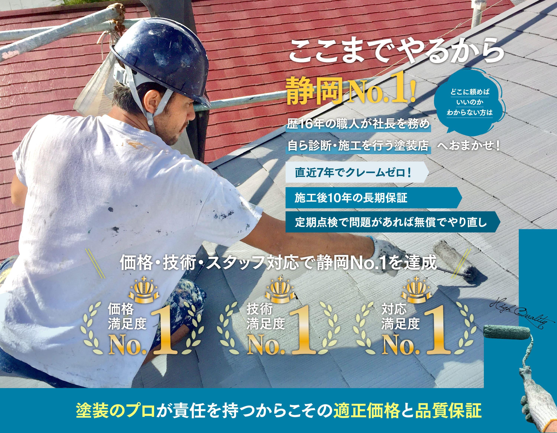 外壁塗装3部門で静岡No.1!歴16年の職人が社長を務め自ら診断・施工を行う塗装店へおまかせ!